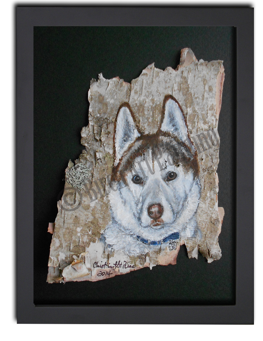 Portrait on Maine birch bark