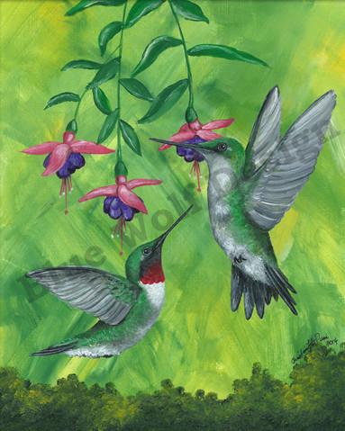 Hummingbird pair _ Blue Wolf Design