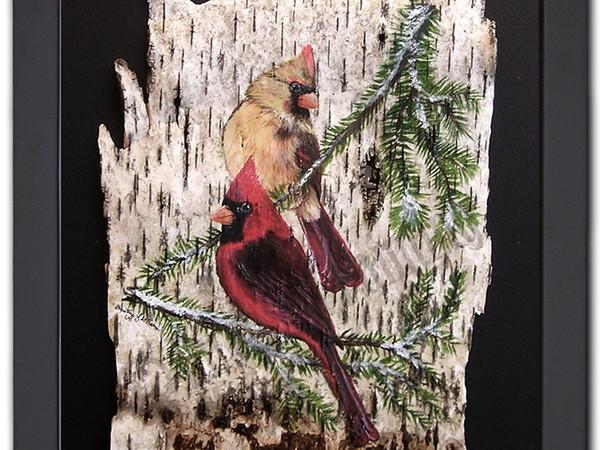 Cardinal Pair - Birch Art Painting