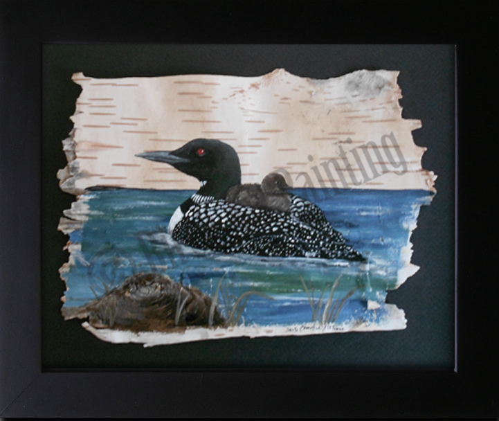 Loon and chick_Birch Art Painting