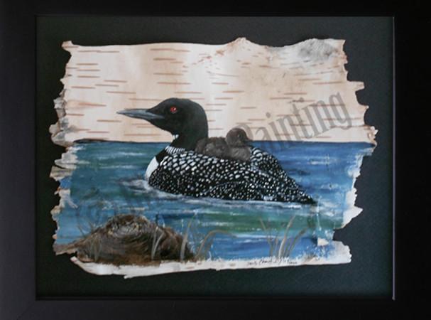 Loon & Chick - Birch Art Painting
