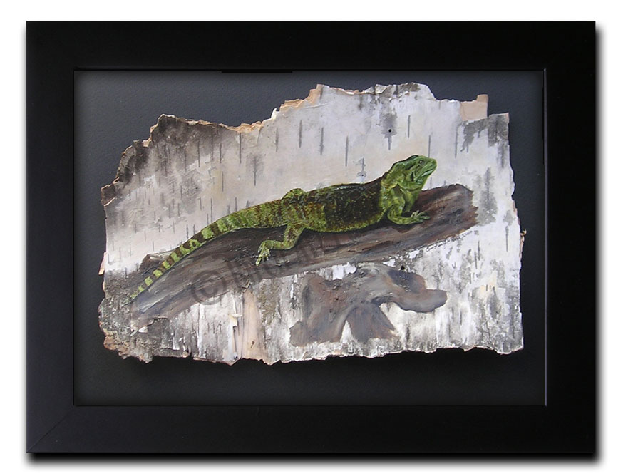 Iguana _ Birch Art Painting
