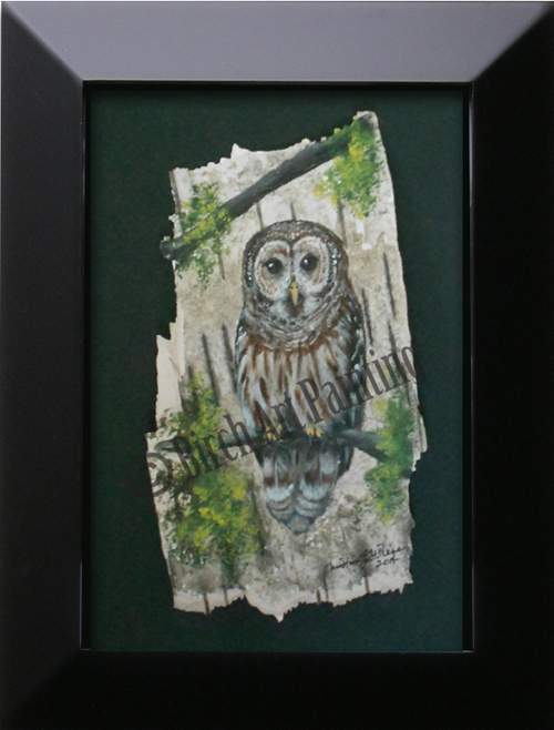 Barred Owl_Birch Art Painting