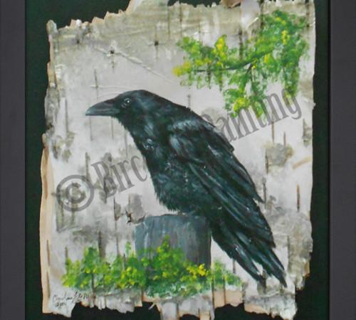 Raven - Birch Art Painting