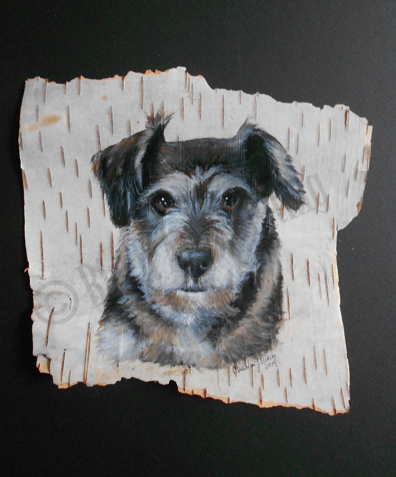 Portrait on Maine birch bark