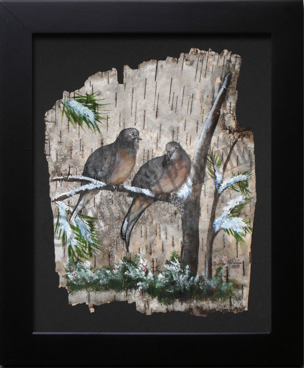 Mourning Doves _Birch Art Painting