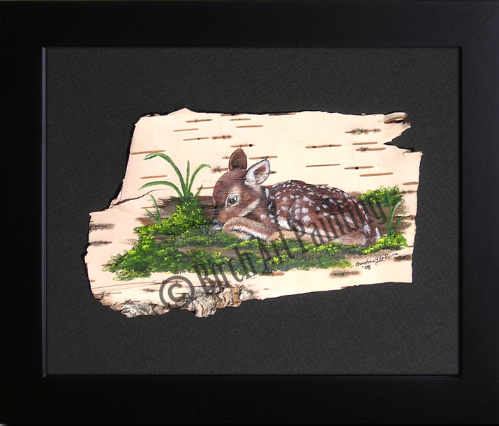 Resting fawn_ Birch Art Painting
