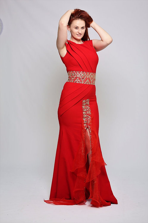 Red and Gold Evening Gown