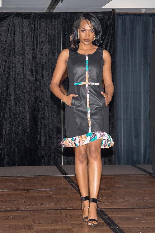Black  leather cocktail dress accent with Ankara