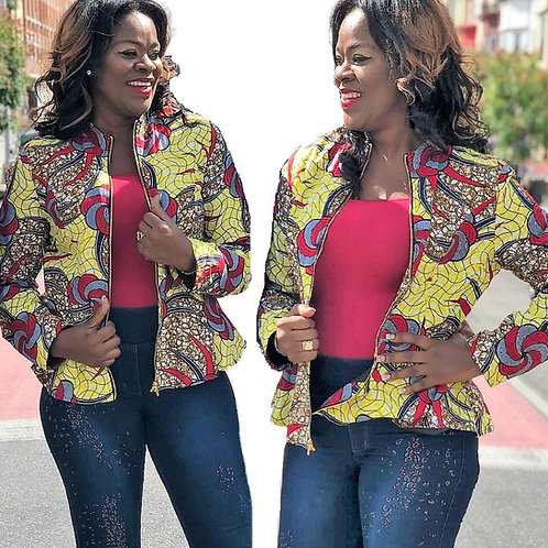 Ankara Jacket, Multi colors, Reversible