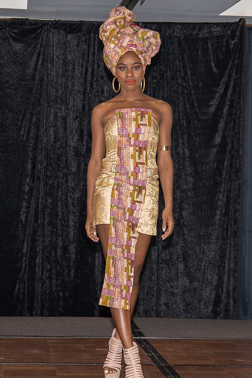 Gold cocktail Ankara dress With headpiece