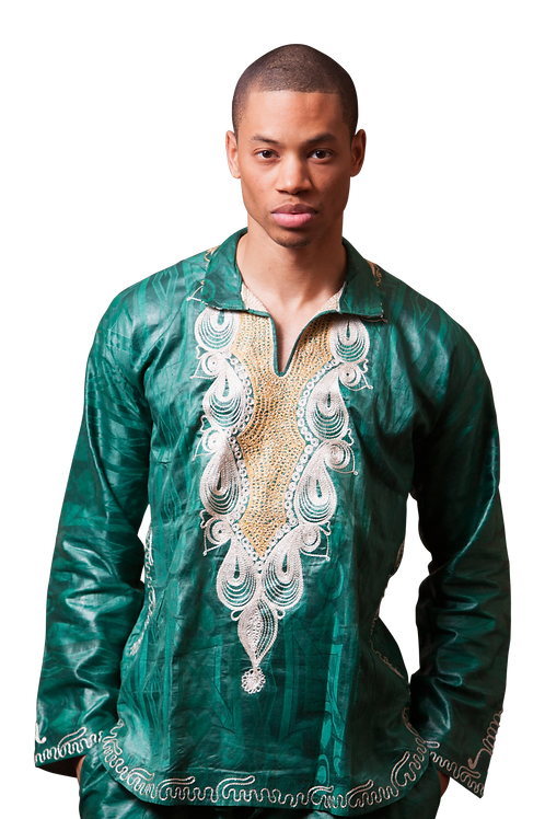 African man's embroidered long sleeve shirt and trousers