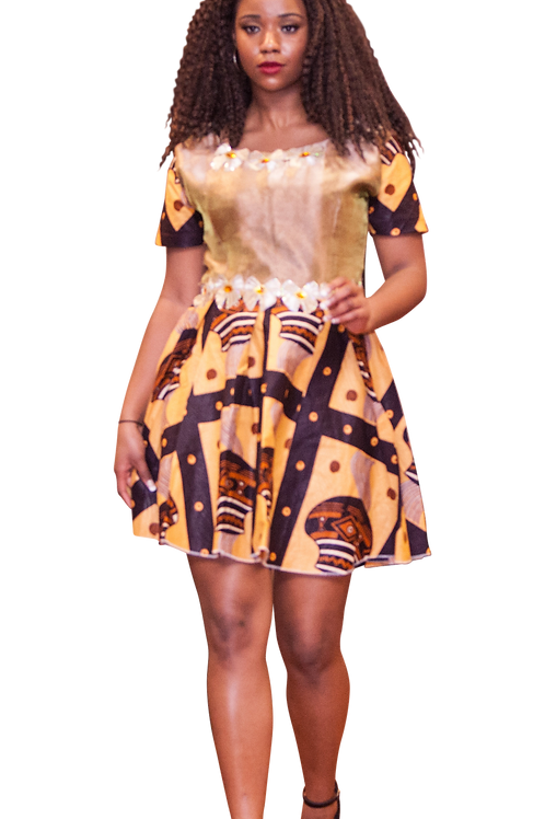 Short dress with Ankara sleeves and skirt, and trim around neckline and waist.