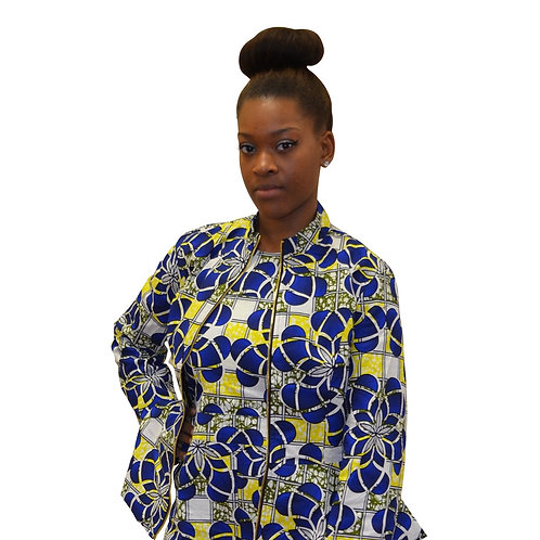 Ankara Suit Jacket, Blue, Yellow, White, Reversible