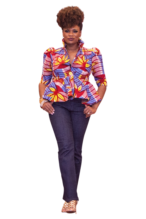 Ankara Jacket with elbow length sleeves. Jeans not included