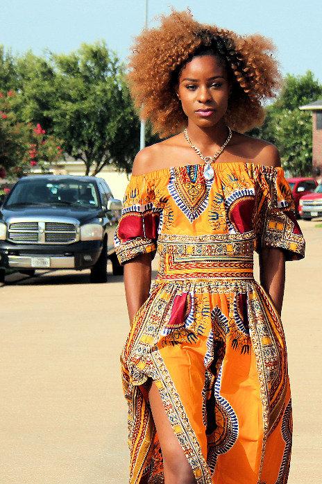 Yello Dashiki Dress