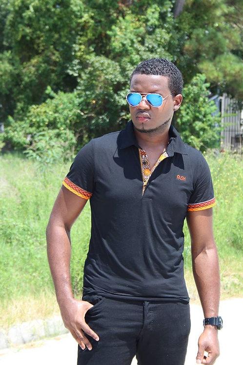 Black T-Shirt accent with Dashiki