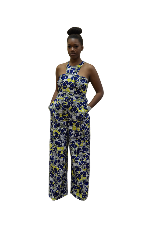 Blue & Yellow Ankara Jumpsuit with halter neck and side pockets.
