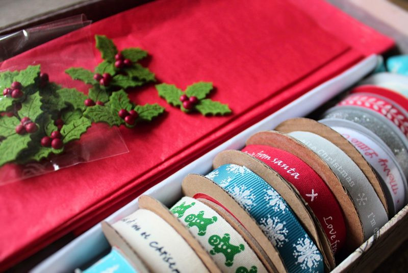 christmas wrapping with ribbon