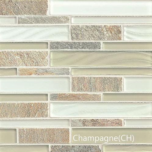 Elume Linear Glass Slate Blend Mosaic - 8 Colors
