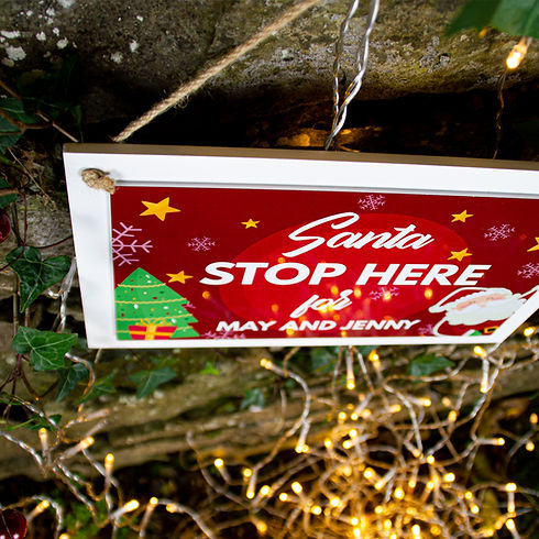 Personalsied Wooden Santa Stop Here Sign Christmas Stockings Ireland