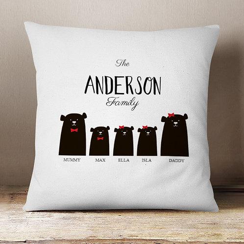 Christmas Bear Cushion 2 Parent 1 Boy 2 Girls