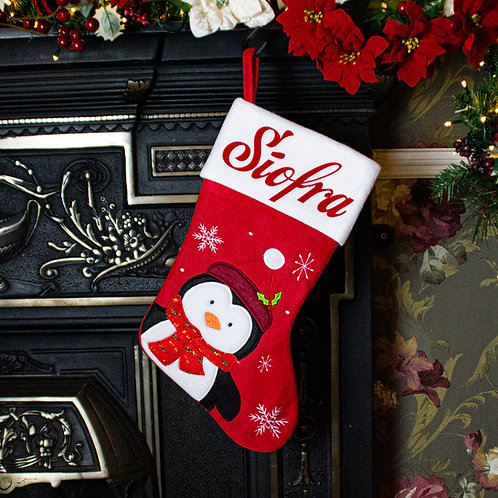 Red Penguin Christmas Stocking