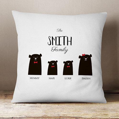Christmas Bear Cushion 2 Parent 2 Boys