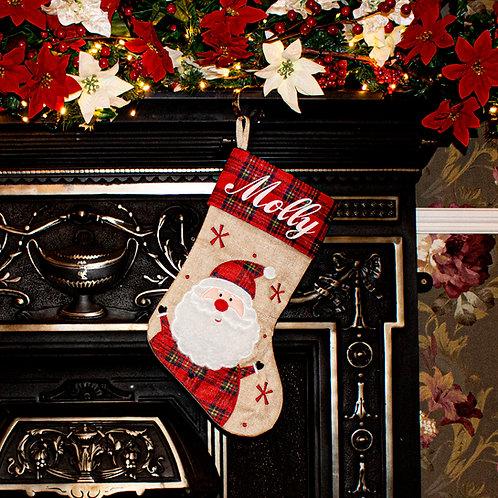 Hessian and Tartan print Vintage Santa Stocking