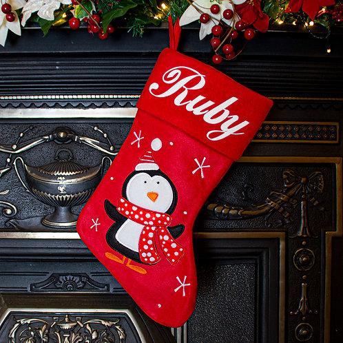 Red Polka Penguin Christmas Stocking