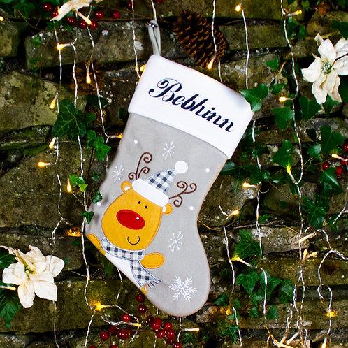 Warm Grey Rudolph Stocking
