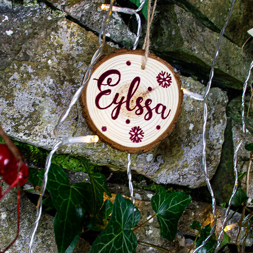 Wooden Plum Printed Christmas Tree Decoration
