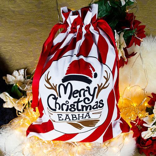 Large Candy Cane Stripe Christmas Sack
