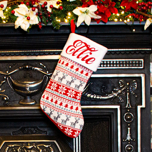 Knitted Nordic Christmas Stocking