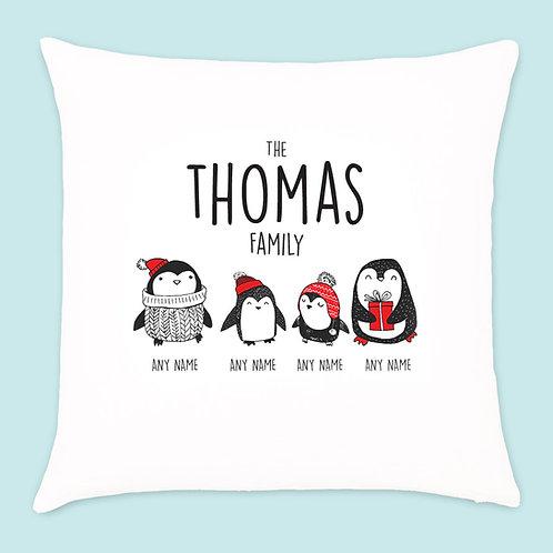 Christmas Penguin Cushion 4 Names