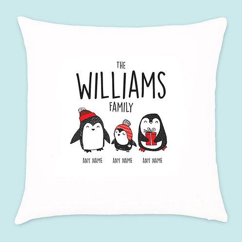 Christmas Penguin Cushion 3 Names