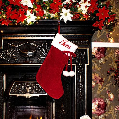 Red Velveteen Fluffy White Top Pom-Pom Stocking