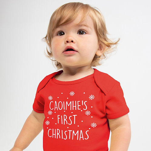 Personalised First Christmas Baby Vest Red