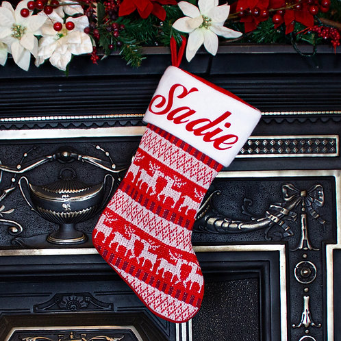 Red Knitted Nordic Christmas Stocking