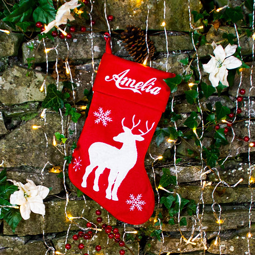 Classic Reindeer Christmas Stocking