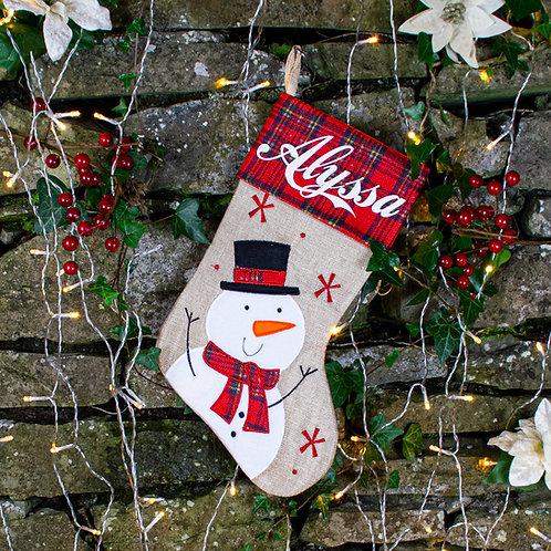 Hessian and Tartan print Vintage Snowman Stocking