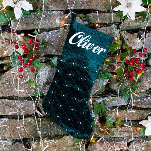 Luxury Dark Peacock Green Velvet Stocking