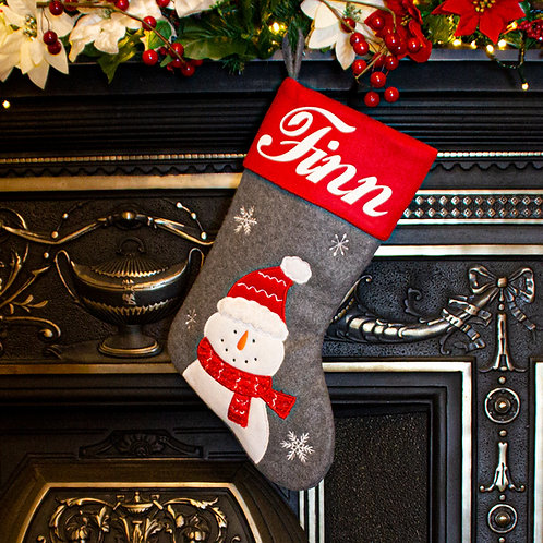 Grey and Red Snowman Christmas Stocking