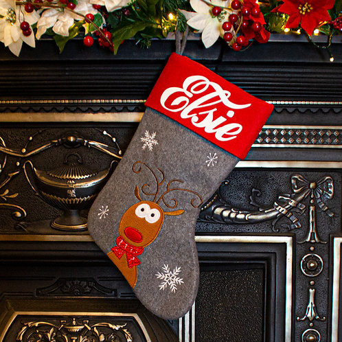 Grey and Red Rudolph Christmas Stocking