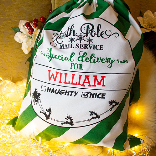 Green Candy Cane Stripe Christmas Sack
