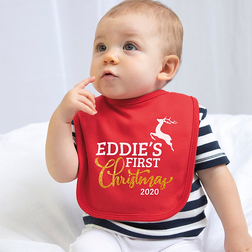 Baby's First Christmas Bib with gold glitter design
