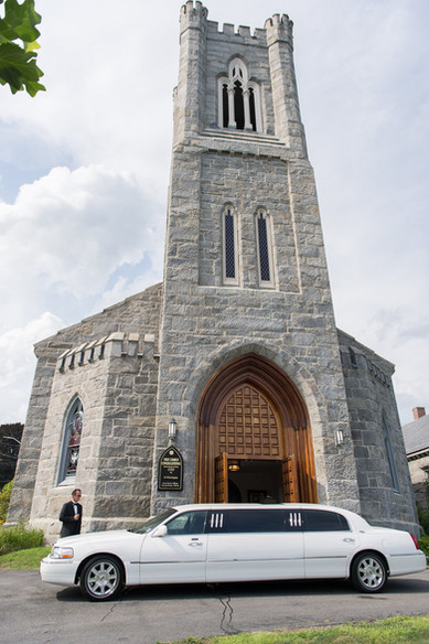 Front of church with limousine