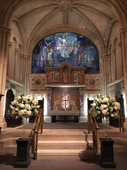 alter view with wedding flowers