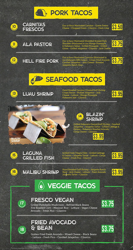 Happy Taco Bar Pork Tacos, Seafood, Shrimp, Beef, Vegetarian | Garland, Texas Menu