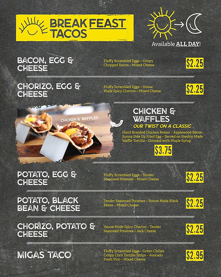 Happy Taco Garland Breakfast Menu | Chicken & Waffles, Bacon Egg, Cheese, Potato